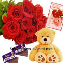 productA Bunch Of 12 Red Roses, Medium Size Cute Teddy Bear , 2 Big Dairy Milk Chocolates And A Valentine's Day Greeting Card