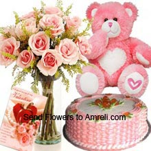 product12 Pink Roses In A Vase, 1Kg (2.2 Lbs) Strawberry Cake, Medium Size Teddy Bear And A Valentine's Day Greeting Card
