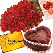 productA Bunch Of 50 Red Roses, 1Kg (2.2 Lbs) Heart Shaped Black Forest Cake, Box of Cadbury's Celebration Pack And A Valentine's Day Greeting Card