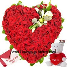productHeart Shaped Arrangement Of 100 Red Roses With A Free Small Teddy Bear And A Valentine's Day Greeting Card