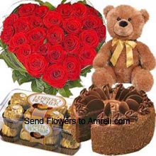 productHeart Shaped Arrangement Of 50 Red Roses, 1Kg (2.2 Lbs) Butter Scotch Cake, Box Of 16 Pieces Ferrero Rocher Chocolates And A Medium Size Teddy Bear