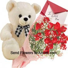 productA Bunch Of 24 Red Roses, Medium Size Cute Teddy Bear With A Valentine's Day Greeting Card