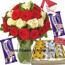 product12 Red And 12 White Roses In A Vase, 2 Dairy Milk Chocolates, 1Kg Assorted Mithai With A Valentine's Day Greeting Card