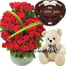 productA Huge Basket Of 150 Red Roses, Medium Size Cute Teddy Bear With 1Kg (2.2 Lbs) Heart Shaped Chocolate Cake