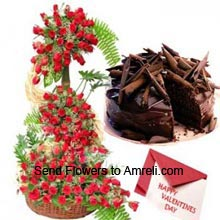 product4 Feet Tall Arrangement Of 200 Red Roses, 1Kg (2.2 Lbs) Chocolate Cake With A Valentine's Day Greeting Card