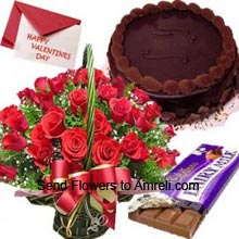 productA Beautiful Arrangement Of 36 Red Roses, 1Kg (2.2 Lbs) Chocolate Cake, 1 Big Dairy Milk Chocolate And A Valentine's Day Greeting Card
