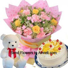 productA Bunch Of 6 Yellow Roses And 6 Pink Carnations, Small Cute Teddy Bear And 1Kg (2.2 Lbs) Pineapple Cake