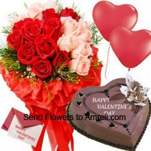 productA Beautiful Bunch Of 18 Red And Pink Roses, 1Kg (2.2 Lbs) Heart Shaped Chocolate Cake, 2 Mylar Balloons And A Valentine's Day Greeting Card