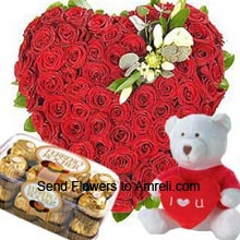 productHeart Shaped Arrangement Of 100 Red Roses, Medium Size Cute Teddy Bear With A Heart And A Box Of 16 Pieces Ferrero Rocher Chocolates