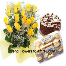 productA Bunch Of 20 Yellow Roses, 1Kg (2.2 Lbs) Black Forest Cake And A Box Of 16 Pieces Ferrero Rocher Chocolates