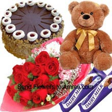 productA Bunch Of 12 Red Roses, Medium Size Teddy Bear, 1/2Kg (1.1 Lbs) Butter Scotch Cake And Dairy Milk Chocolates