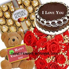 productA Bunch Of 24 Red Roses, Medium Size Teddy Bear, 1/2Kg (1.1 Lbs) Chocolate Cake And A Box Of 24 Pieces Ferrero Rocher Chocolates