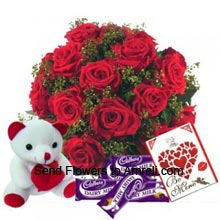 productA Basket Of 18 Red Roses, Small Cute Teddy Bear, Dairy Milk Chocolates And A Valentine's day Greeting Card