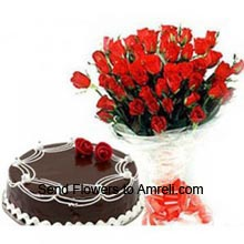 productA Bunch Of 36 Red Roses With 1Kg (2.2 Lbs) Chocolate Truffle Cake