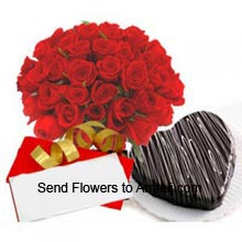 productArrangement Of 24 Red Roses, 1Kg (2.2 Lbs) Heart Shaped Chocolate Cake With A Valentine's Day Greeting Card
