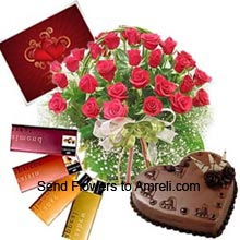 productA Basket Of 30 Red Roses With Seasonal Fillers, 1Kg Heart Shaped Chocolate Cake, 4 Different Cadbury's Temptation Chocolates And A Valentine's Day Greeting Card