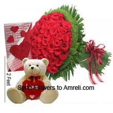 productA Bunch Of 100 Red Roses, 2 Feet Tall Teddy Bear And A Valentine's Day Greeting Card