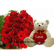 productA Bunch Of 24 Red Roses With 2 Feet Tall Teddy Bear