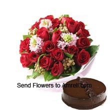 productA Bunch Of 18 Red Roses With Seasonal Fillers And 1/2Kg (1.1 Lbs) Chocolate Truffle Cake