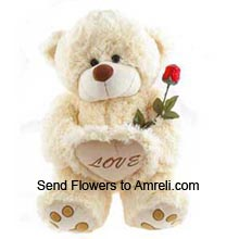 product4 Feet Tall Teddy Bear With 1 Red Roses ( This Product Needs To Be Accompanied With Valentine Flowers )