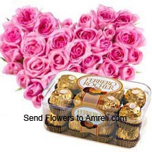 productHeart Shaped Arrangement Of 50 Pink Roses With A Box Of 16 Pieces Ferrero Rocher Chocolates