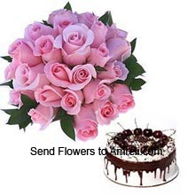 productA Bunch Of 24 Pink Roses With 1/2Kg (1.1 Lbs) Black Forest Cake