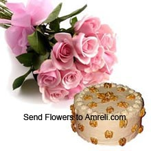 productBunch Of 12 Pink Roses With 1Kg (2.2 Lbs) Butter Scotch Cake