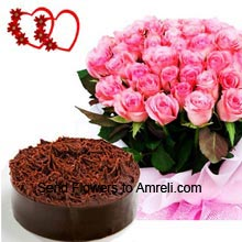 productA Bunch Of 50 Pink Roses With 1Kg (2.2 Lbs) Chocolate Cake