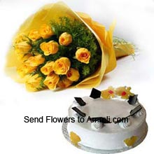 productA Bunch Of 12 Yellow Roses And 1Kg (2.2 Lbs) Vanilla Cake