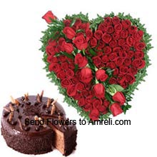 productHeart Shaped Arrangement Of 100 Red Roses With 1/2Kg (1.1 Lbs) Chocolate Truffle Cake