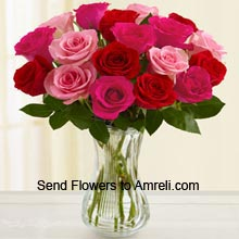 18 Red And Pink Roses In A Vase