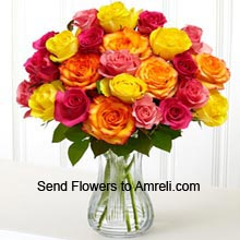 product20 Mixed Color Roses In A Vase