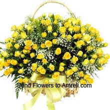 Arrangement Of 75 Yellow Roses With Seasonal Fillers. To Change The Color You Can Specify The Color You Require In