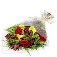 Bunch Of 6 Red Roses And 6 Yellow Carnations