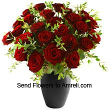 product30 Red Roses In A Vase With Fillers