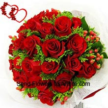 productBunch Of 30 Red Roses With Seasonal Fillers