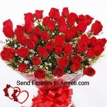 productBunch Of 40 Red Roses With Seasonal Fillers