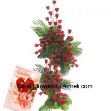 productTall Arrangement Of 150 Red Roses With A Valentine's Day Card
