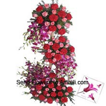 product4 Feet Tall Arrangement Of Orchids, Roses And Carnations With A Valentine's Day Card