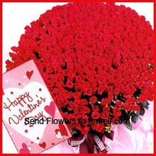 productBunch of 200 Red Roses With A Valentine's Day Card