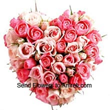 productHeart Shaped Arrangement Of 50 Pink Roses