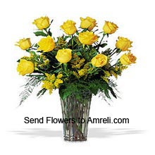 product12 Yellow Roses In A Vase With Seasonal Fillers
