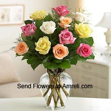product12 Mixed Color Roses In A Vase