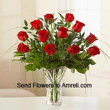 product12 Red Roses In A Vase With Fillers