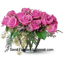 product12 Pink Roses In A Vase With Seasonal Fillers