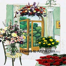 Assorted Flowers In A Vase, Assorted Flowers In A Basket, Arrangement Of 12 Yellow Roses And A Bunch Of 12 Red Roses