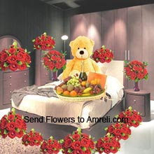 product10 Baskets Of 12 Red Roses Each, 12 Red Roses In A Vase, 24 Red Roses In A Vase, 3 Feet Tall Teddy Bear, 5Kg Assorted Fruit Basket, A Bottle Of Champagne And A Box Of Cadbury's Celebration Pack