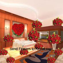 6 Baskets Of 12 Red Roses Each, 18 Red Roses In A Vase, 4 Baskets Of 24 Red Roses Each, Heart Shaped Arrangement Of 100 Red Roses