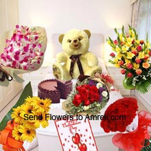 Bunch Of Fresh Orchids, Bunch Of 12 Yellow Daisies, Bunch Of 12 Red Roses, Bunch Of 24 Red Roses, Basket Of Assorted Flowers, 1Kg (2.2 Lbs) Chocolate Cake, 1.5 Feet Tall Teddy Bear And A Big Card