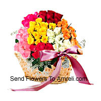 Basket Of 100 Mixed Colored Roses
